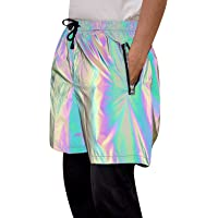 Rainbow Reflective Shorts Pants Men Fluorescent Trousers Casual Night Jogger (Large)
