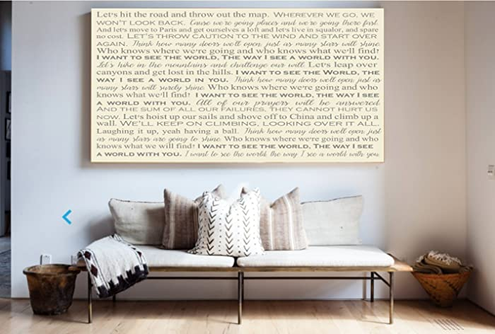 Amazon.com: Song Lyrics on Canvas, Typography Art, First Dance Song ...
