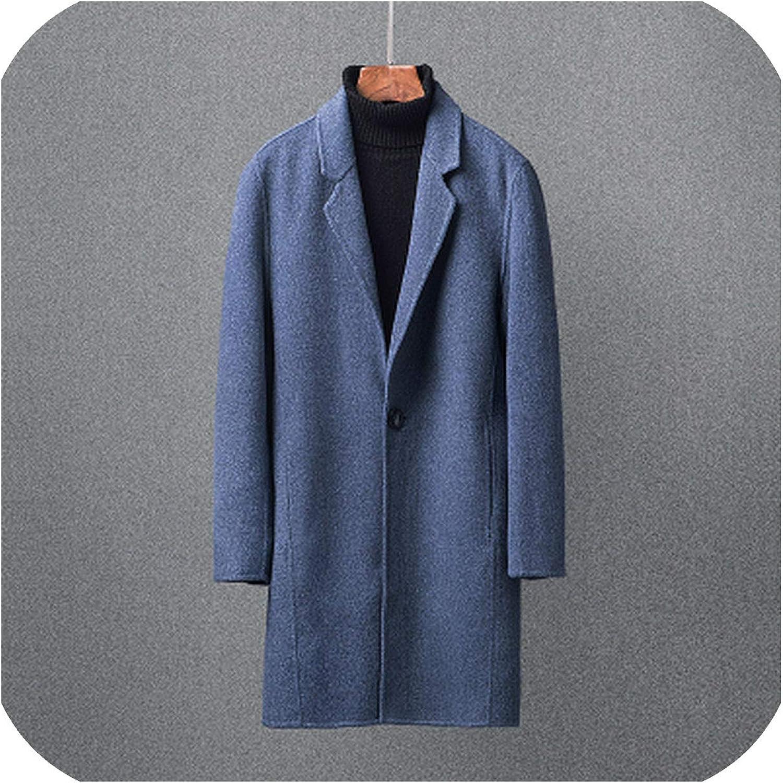XQS Mens Winter Warm Wool Blend Overcoat Mid Long Pea Coat Outwewars