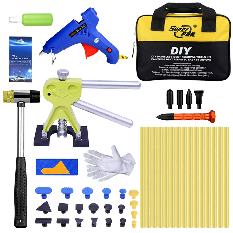 AUTOPDR 54Pcs Dent Removal Tools,Pops a Dent Lifter Dent Puller Kit with Hot Melt Glue Gun Glue Sticks Tool Bag for Car Body Dent Repair
