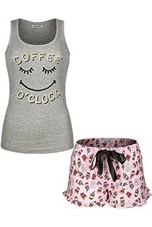 d3091584c7 SofiePJ Women s Printed Cotton Pajama Set Jersey Racerback Tank Top with  Short Pants