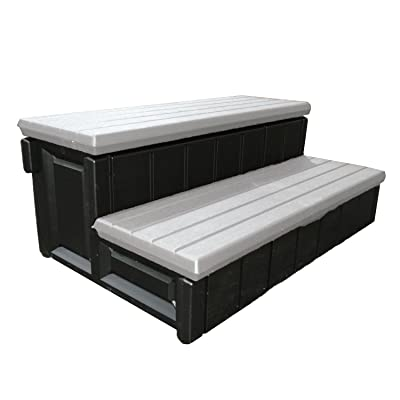 Leisure Accents Spa Step with Storage Compartment Gray
