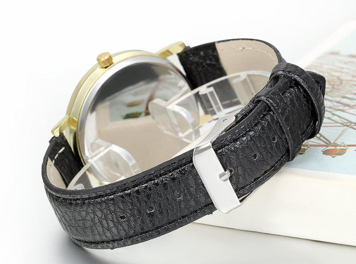 Amazon.com: JewelryWe Classic Leather Watch World Map Pattern Quartz Wristwatch Unisex Birthday Gift: Watches