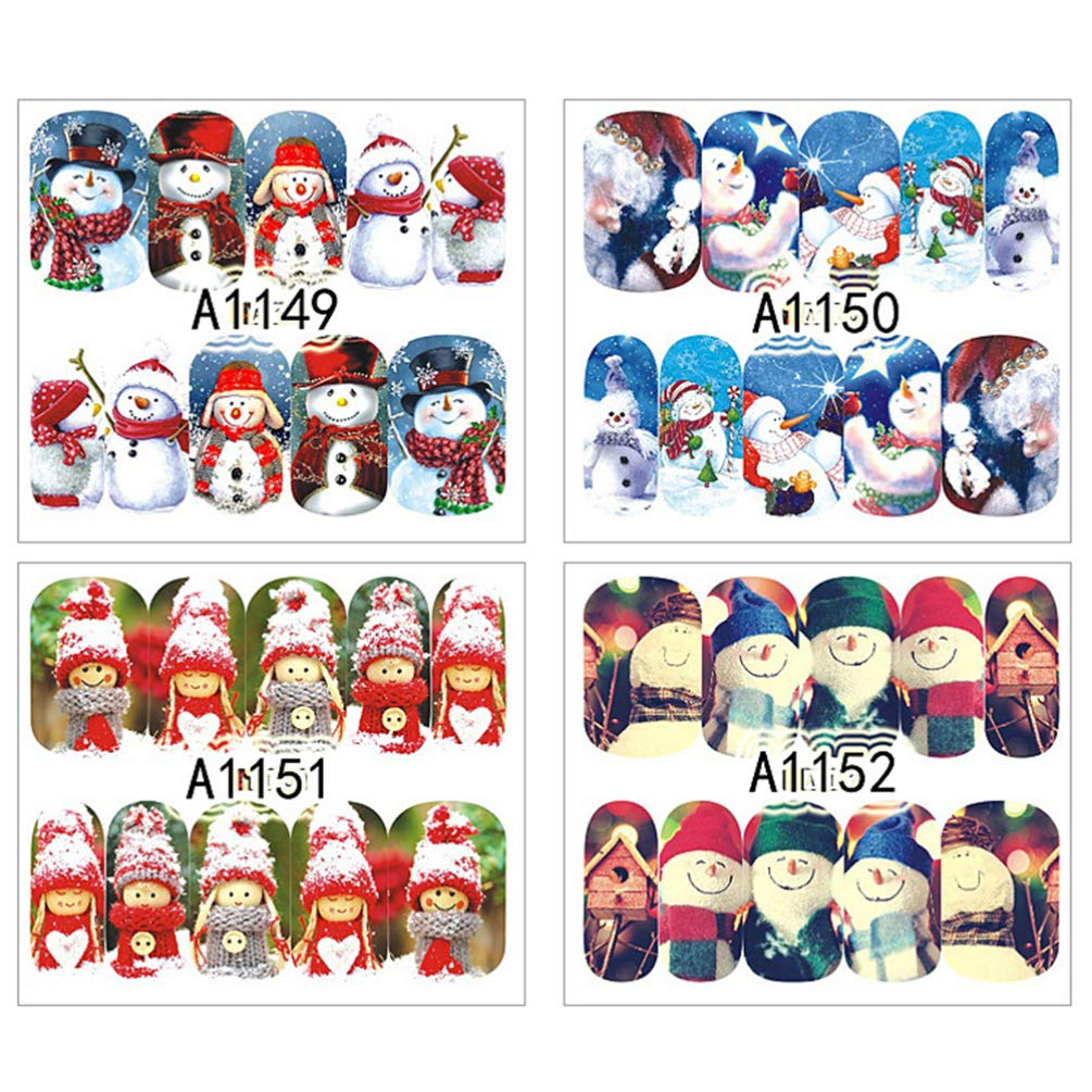 Lurrose 12 Sheets Christmas Nail Stickers Santa Snowman Xmas Tree Stickers Nail Art Stickers Tips Stencil for Holiday Christmas Party Supplies Favors