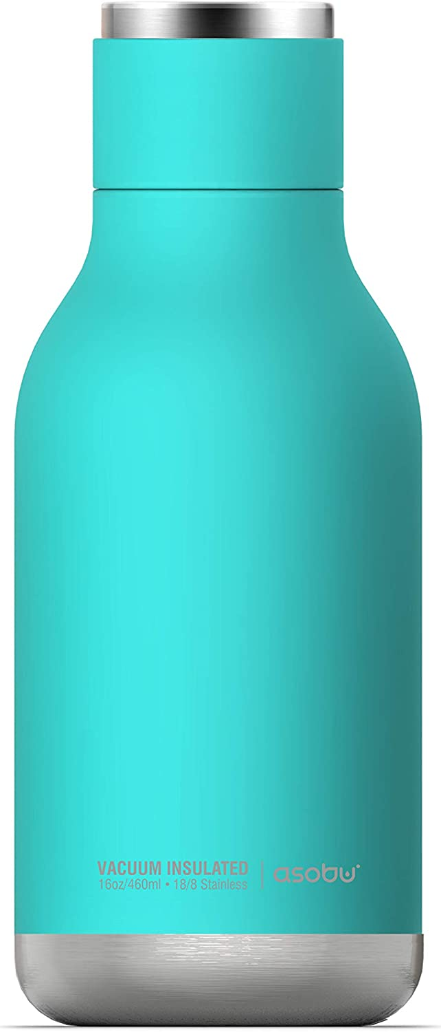 Urban Insulated and Double Walled Stainless Steel Bottle 16 Ounce by Asobu (Turquoise)