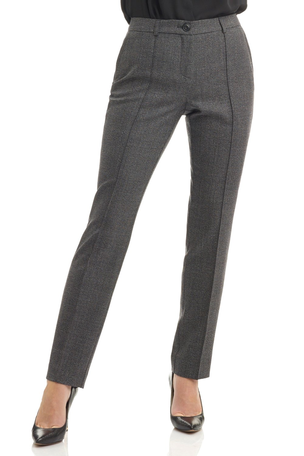Rekucci Collection Women's Stretch Wool Tailored Pants (16,Grey Glencheck)