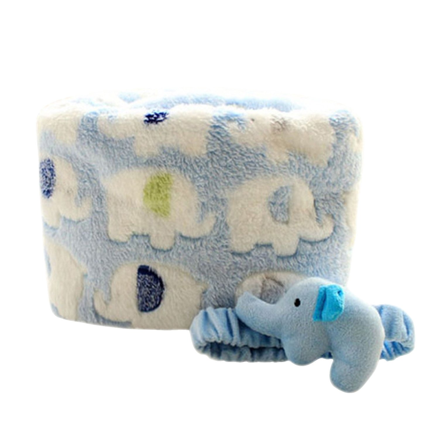 Baby Ultra-Soft Coral Fleece Crib Blanket, Blue with White Elephants Refaxi