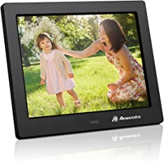 Powerextra 8 inch Digital Photo Frame HD Video Frame High Resolution Widescreen LCD with Remote Control - Black