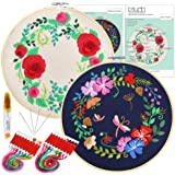 Caydo 2 Sets Beginners Cross Stitch Kits Include Instructions, 2 Pieces Bamboo Embroidery Hoops, 2 Pieces Embroidery…