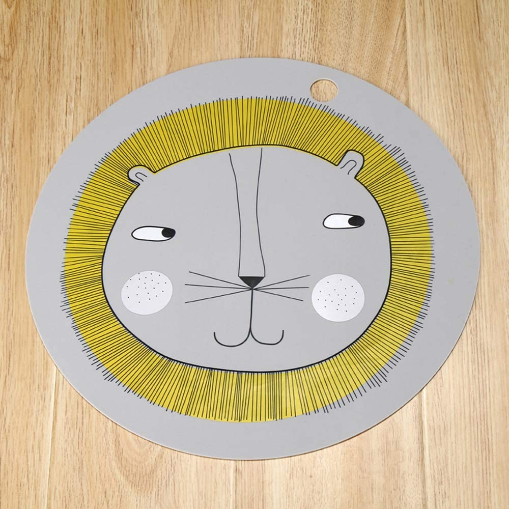Table Mat Toddler Plate Feeding Mat Baby Placemat Silicone Insulation Placemat for Your Children Lion Pattern Practical and Useful