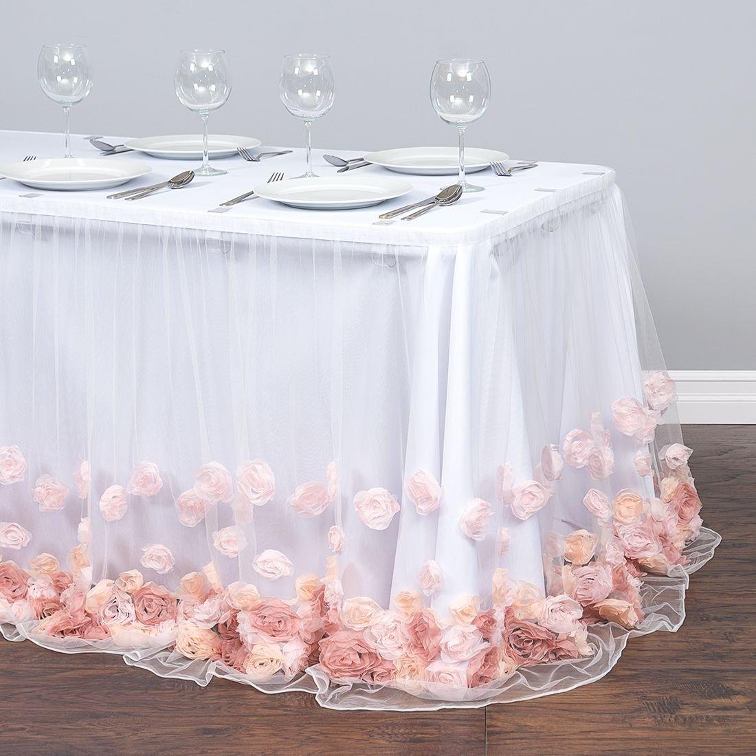 21 ft. Tulle Rose Table Skirt Blush Pink