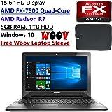"Lenovo Z50 Flagship Premium 15.6"" HD Laptop PC| AMD FX-7500 2.10 GHz Quad-Core| AMD Radeon R7| 8GB DDR3| 1TB HDD| DVD RW| Bluetooth| 802.11 b/g/n| 4-cell lithium-ion | Windows 10 (Black)"
