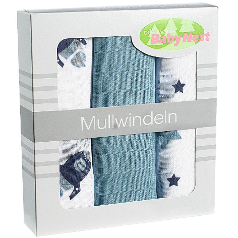 Odenwälder 10083-265 Doppelmull Windeln 3er Box Rakete blue