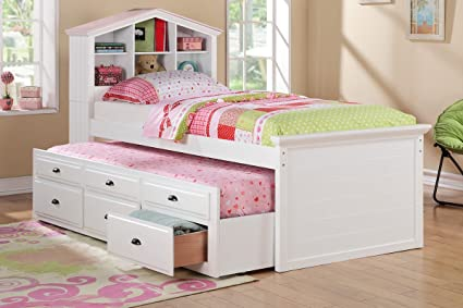 Amazoncom Poundex F9223 Twin Bed With Trundle In White Finish