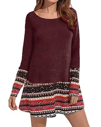 CNFIO Damen Pullover Oberteil Kleider Pulli Knit Langarm Elegant Sweatshirt  mit Tasche Strickkleider rot 2 XL  Amazon.de  Bekleidung 2e6ab499f6