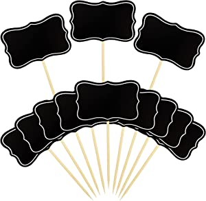56 PCS Black Chalkboard Picks Chalkboard Sign Food Toppers Cheese Markers Cake Cupcake Topper for Birthday Party Wedding Gender Reveal Baby Shower Decoration Supplies