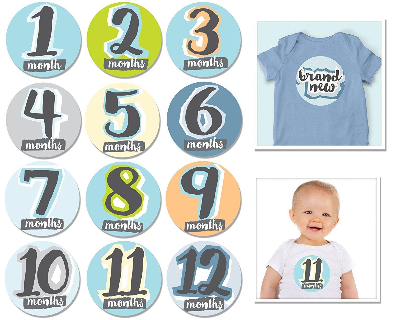 Sticky Bellies Baby Monat Aufkleber–Hello Baby Boy 362