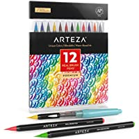 Arteza Real Brush Pens, 12 Paint Markers with Flexible Brush Tips, Professional Watercolor Pens for Painting, Drawing, Coloring & More, 100% Nontoxic, Multiple Colors