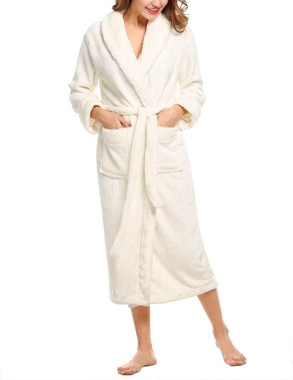 UNibelle Accappatoio Donna Vestaglia e Kimono Scollo a V Accappatoio con 2 Tasche Lungo Manica Lunga da Notte Nightdress S-XL