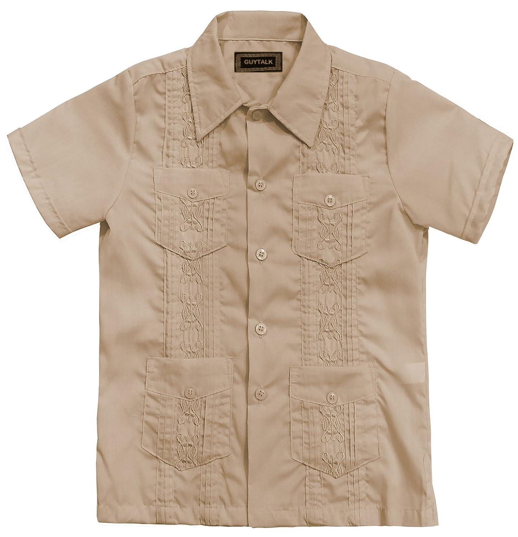 c4ab5e62 Amazon.com: Guytalk Kids Boys' Guayabera Short Sleeve Shirt(13 Colors, Size  0-18): Clothing