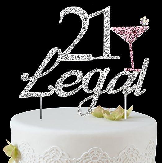 Crystal Rhinestone Happy Birthday Cake Topper Bakery Accessories Silver