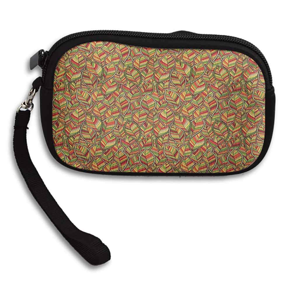 Leaves Small Wallets For Women Autumn Faded Leafage Foliage Forest Fall Woods Botanical Tree Shady Ecology Theme W 5.9x L 3.7 Coin Purse