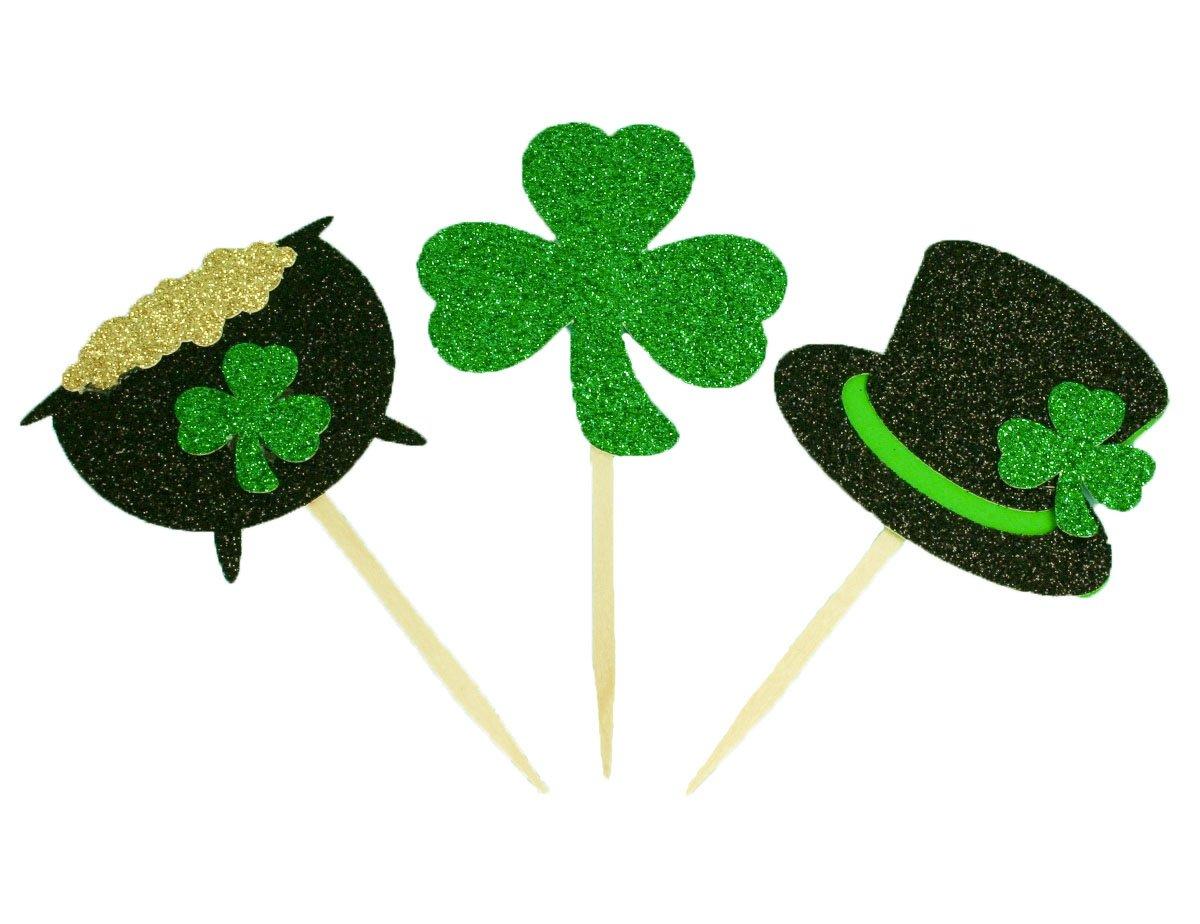 St. Patrick's Day Cupcake Toppers - Pot of Gold - Leprechaun Top hat - Shamrock (48)