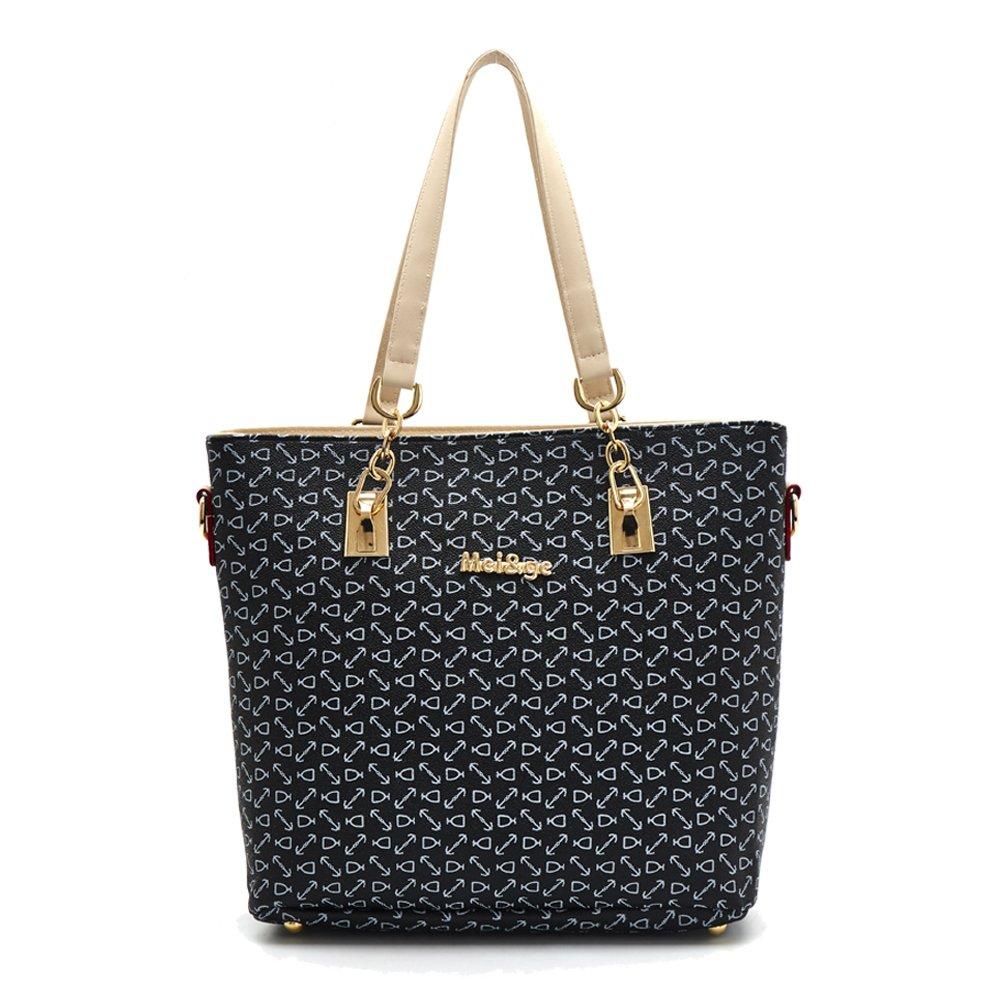 49c997d233 H X Women Totes 6 Pcs Shoulder Bags Top-Handle Handbag Purse Set (black)   Handbags  Amazon.com