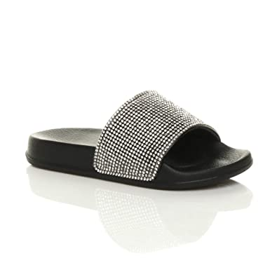 e40309b5d5b1 Ajvani Girls Kids Childrens Flat Diamante Sparkly Sliders Sandals flip Flops  Size 10 30 Black