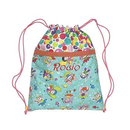 Bolsa mochila Hadas confeccionada personalizada con el nombre bordado (30 x 37 cm. aproximadamente