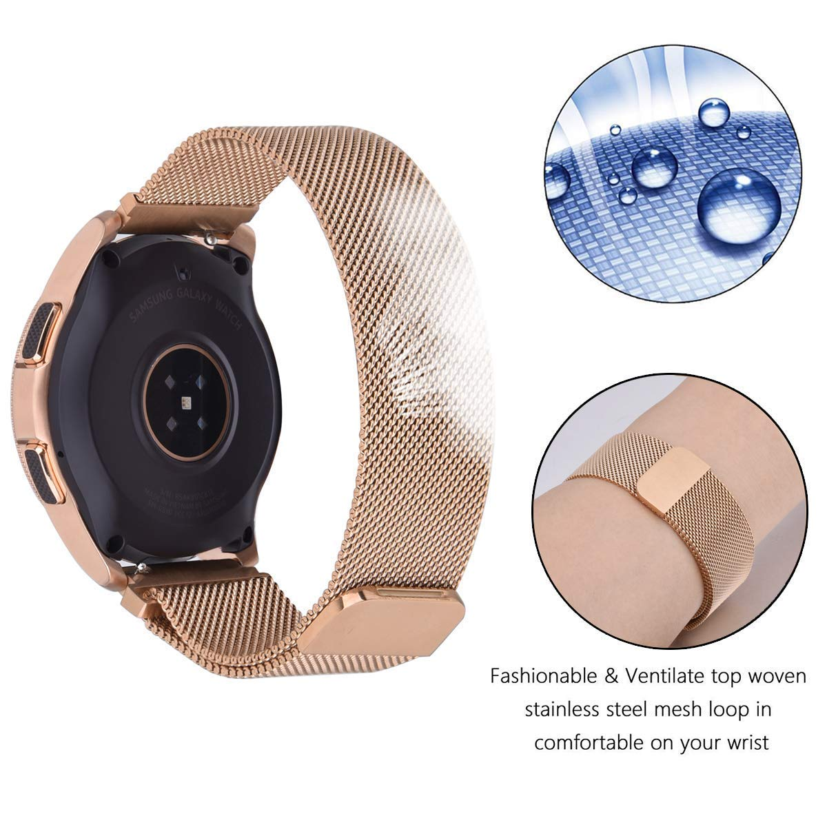 CAGOS Compatible Galaxy Watch 42mm/Galaxy Watch Active Bands Sets, 20mm 2 Pack Stainless Steel Band+Milanese Loop Mesh Bracelet for Samsung Galaxy Watch 42mm /Ticwatch E Smartwatch - Rose Gold by CAGOS (Image #6)
