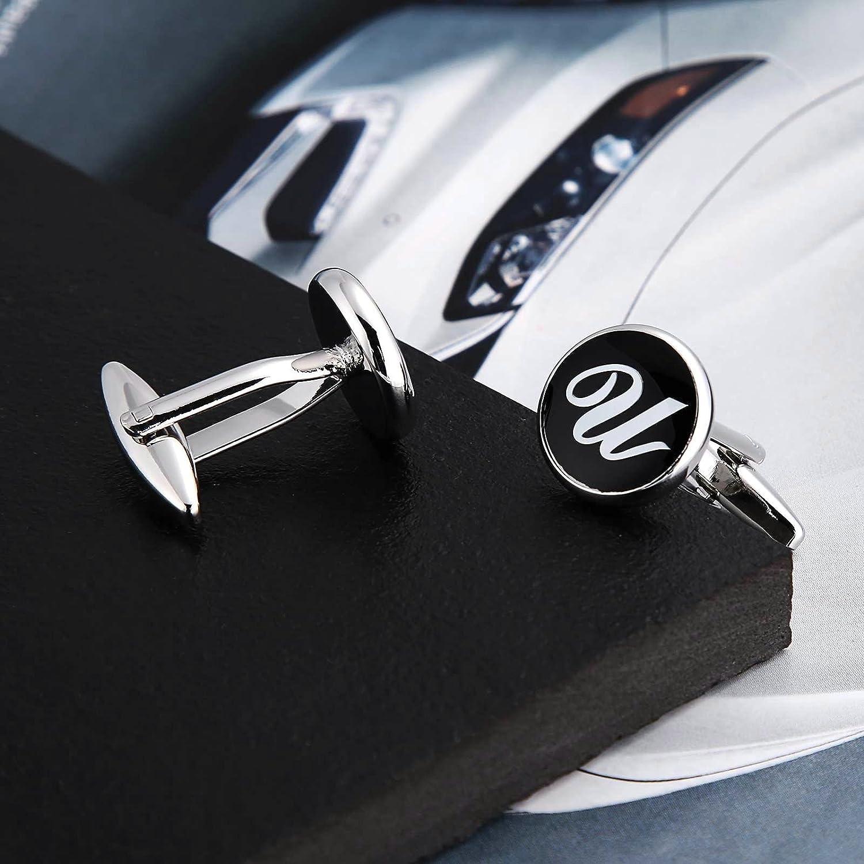 Beydodo Cufflinks Initials Cufflinks Stainless Steel Letter A Business Cufflinks Men