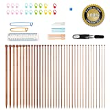 Knitting Needles,BCMRUN 36PCS Bamboo Knitting Needles 18 Sizes from 2.0mm to 10.0mm with 34PCS Accessories -35CM(13.78 inch)