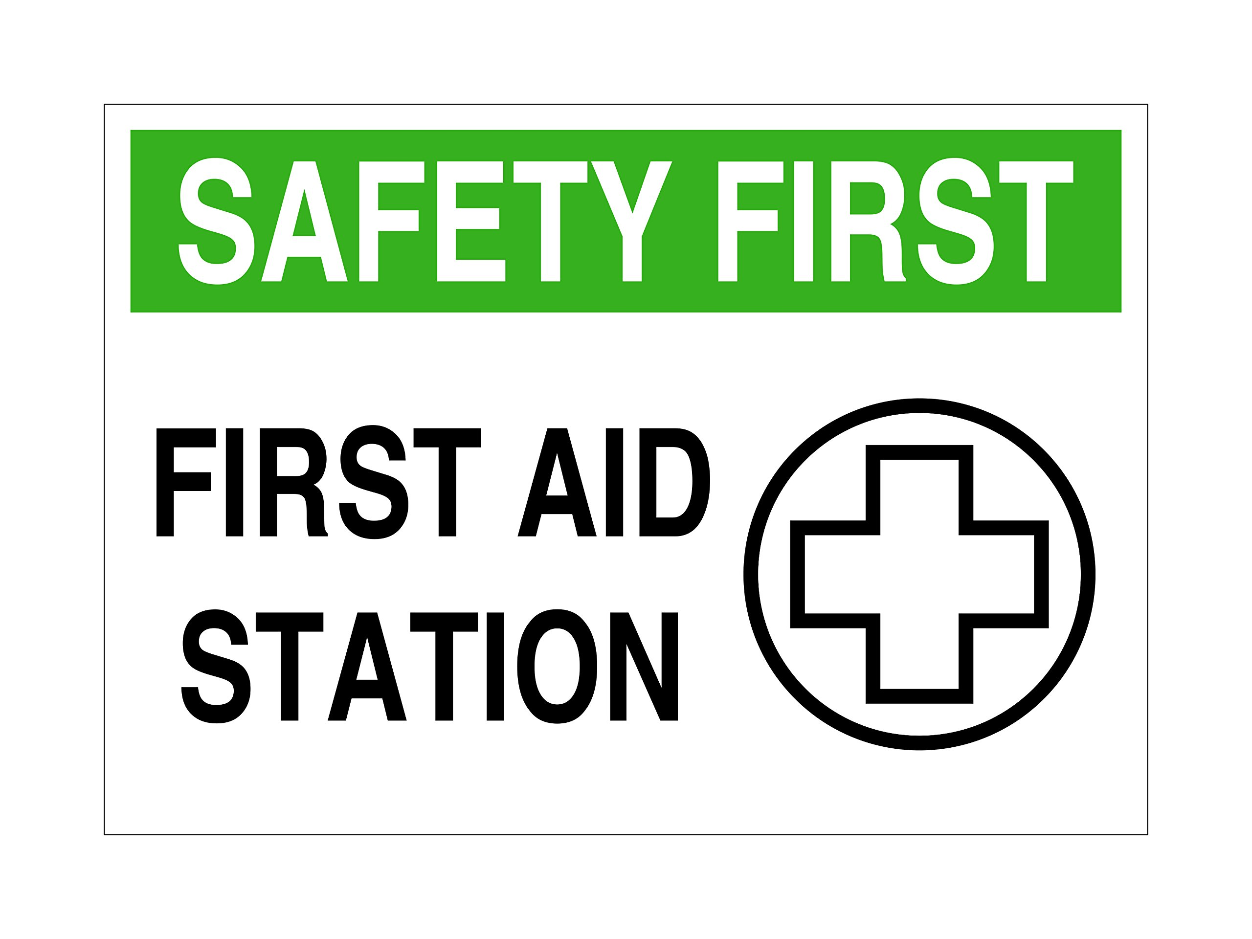 Imprint 360 AS-10037A Aluminum Workplace Safety First Aid Station Sign, 7'' x 10'', White / Green / Black, PROUDLY Made in the USA, Printed with UV Ink for Durability Fade Resistance