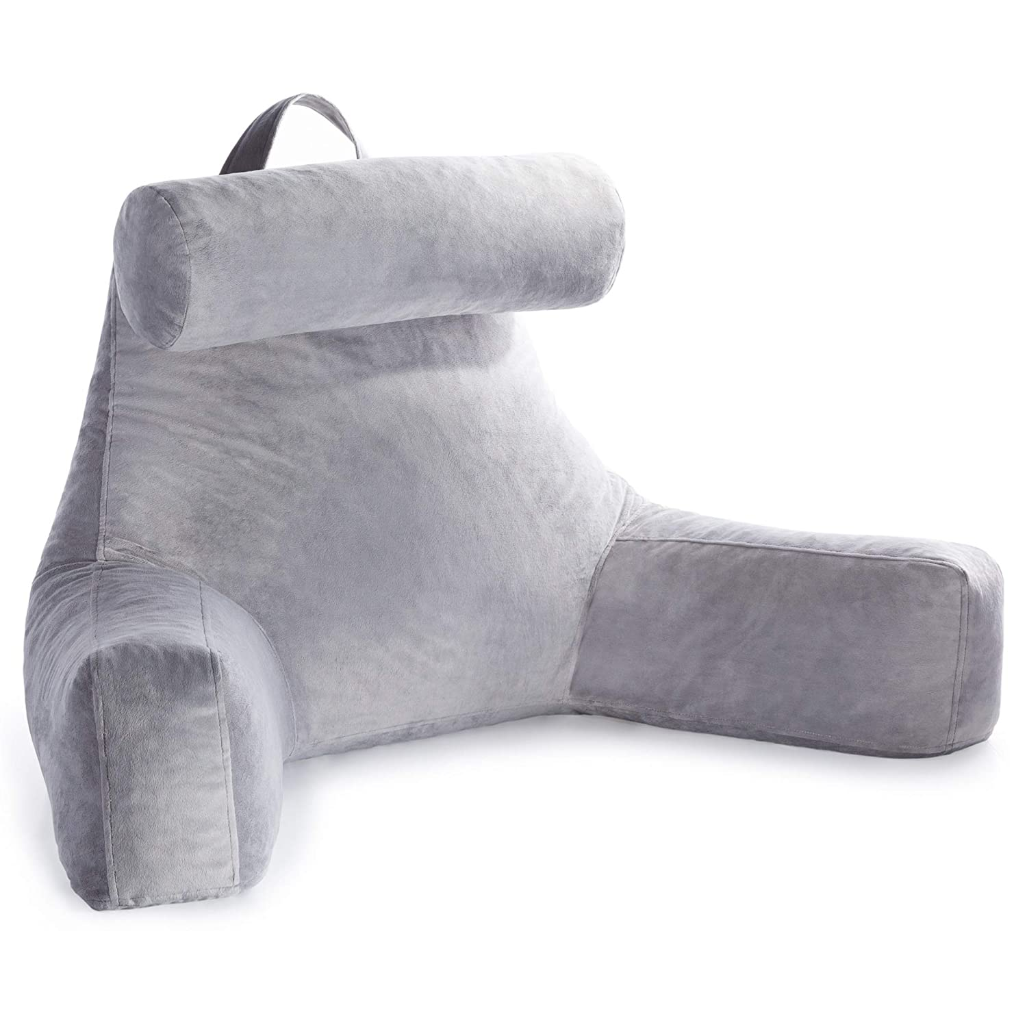 Linenspa Shredded Foam Reading Pillow with Neck Support - Extra Large Design for Adults - Perfect for Back Support While Relaxing, Gaming, Reading, or Watching TV - Soft Velour Cover