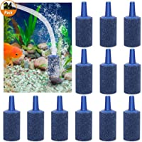 24 PCS Aquarium Air Stone Cylinder Bubble Release Air Stone for Pond Fish Tank Pump Blue