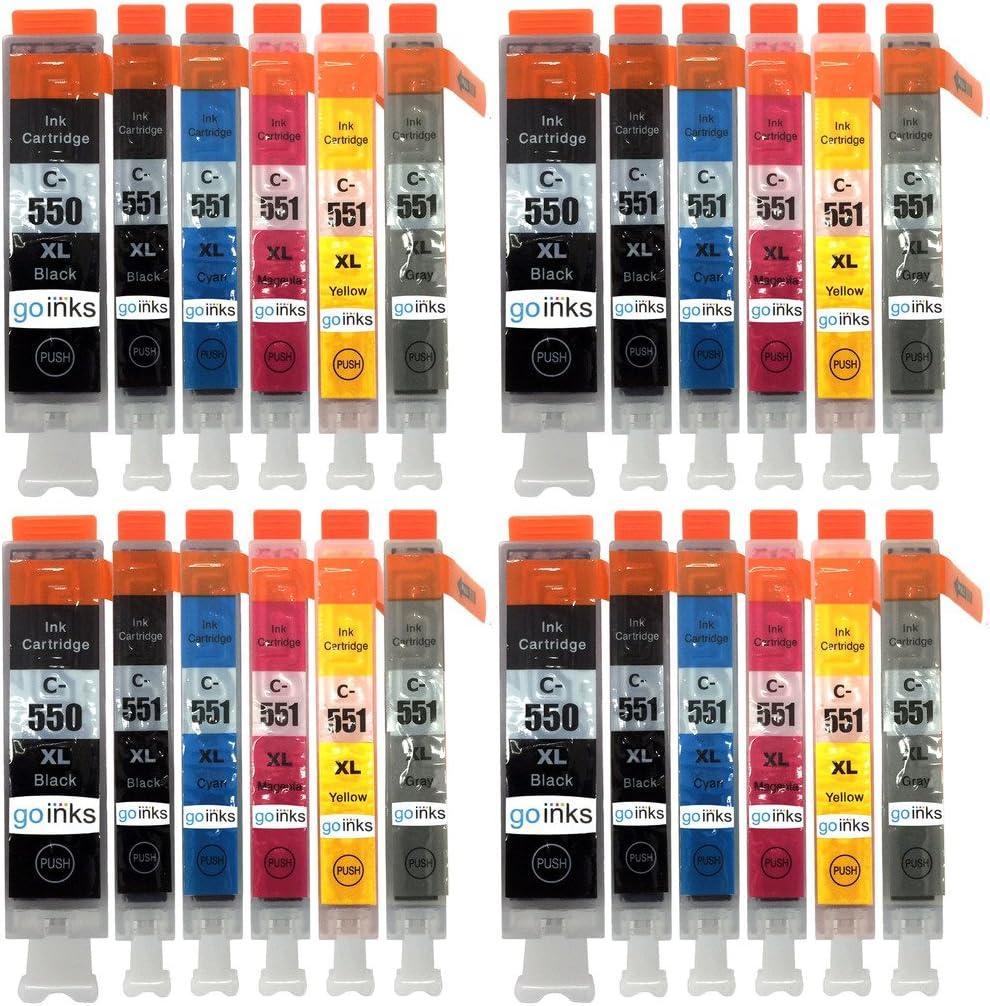 GO Inks C-550/551–6set-4Pack de 24cartuchos de tinta compatible con Impresora PGI-550PGBK/CLI-551BK/CLI-551C/CLI-551M/CLI-521y/CLI-551GY negro/Cyan/Magenta/Amarillo/Gris