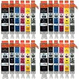 Go Inks - 4 Set di 24 cartucce d'inchiostro C-550/551-6 compatibili con stampanti: PGI-550PGBk, CLI-551Bk, CLI-551C, CLI-551M, CLI-521Y, CLI-551Gy, colori: nero, ciano, magenta, giallo e grigio
