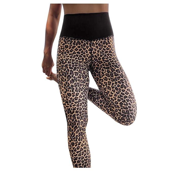 VPASS Mujer Pantalones,Elásticos Estampado de Leopardo Moda Pantalones de Yoga Mujer Fitness Mallas Gym Slim Fit Pants Largos Pantalones Leggings ...