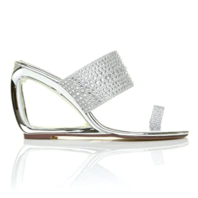 c3c5c4e00cf45 ShuWish UK Cairo Sleek Metallic Silver Cut Out Diamante Shimmer Wedge  Sandals  Amazon.co.uk  Shoes   Bags
