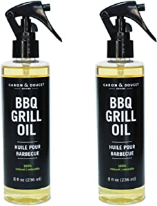 Caron & Doucet - BBQ Grill Cleaner Oil | 100% Plant-Based & Vegan | Best for Cleaning Barbeque Grills & Grates | Use with Wooden Scrapers, Brushes, Accessories & Tools | Great Gift for Dad! (2X 8oz)