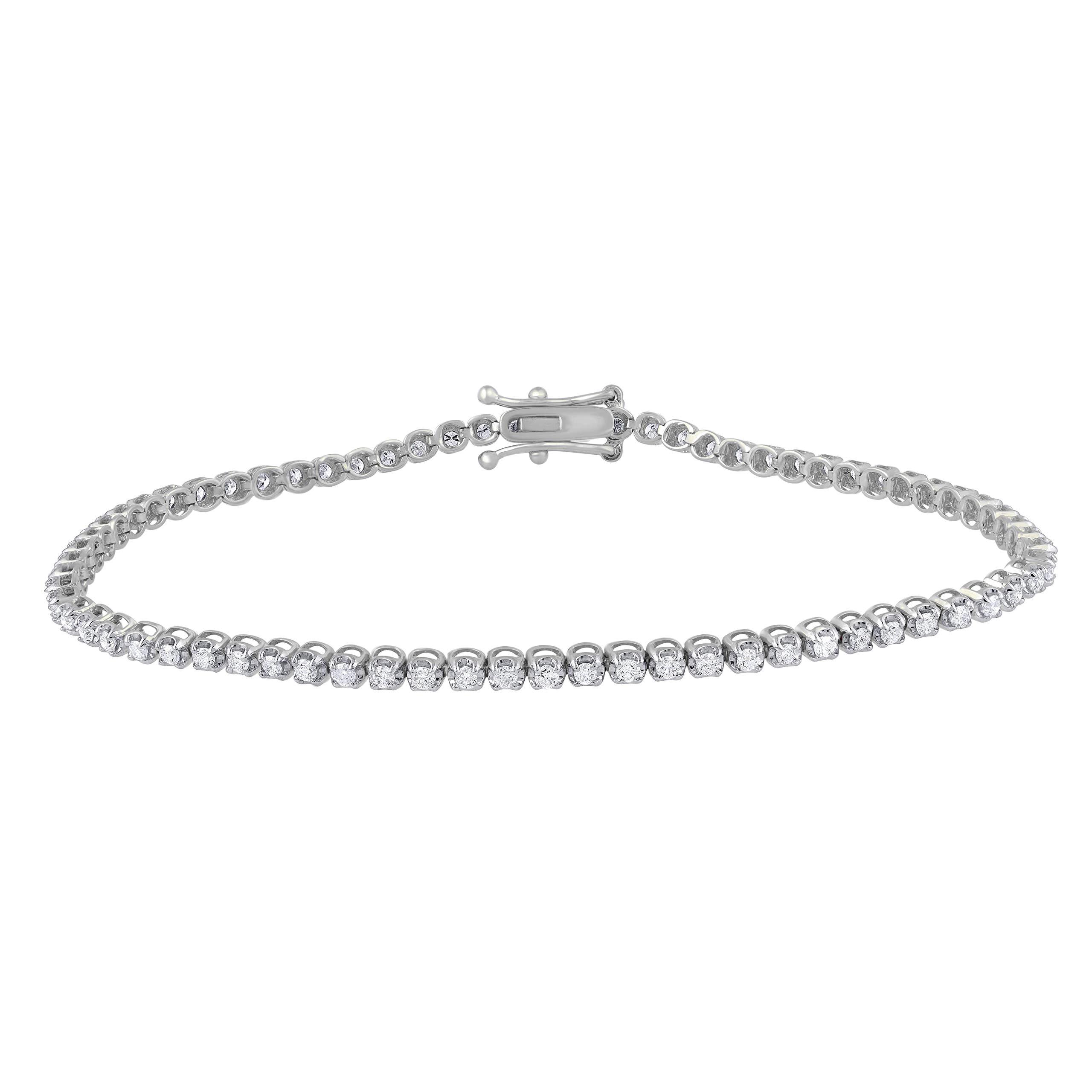1.00 Carat Natural Diamond Bracelet 10K White Gold (G-H Color, I3 Clarity) Stylish Diamond Tennis Bracelet for Women Diamond Jewelry Gifts for Women by TJD