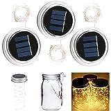 Solar Garden Fairy Light 3-Pack Solar Mason Jar Light Warm White 2 Metre 20 LED Lamps Silver Wire Fairy Lid Light for Glass Mason Jar Garden Patio Decorative Lighting((Manson Jar Not Included)
