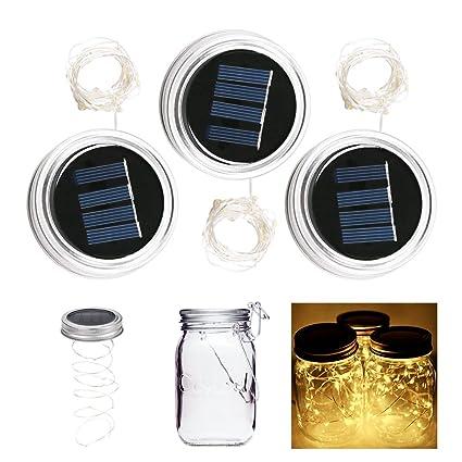 ALED LIGHT Luces led solares para botellas, 6 unidades, 10 ledes, 1 m