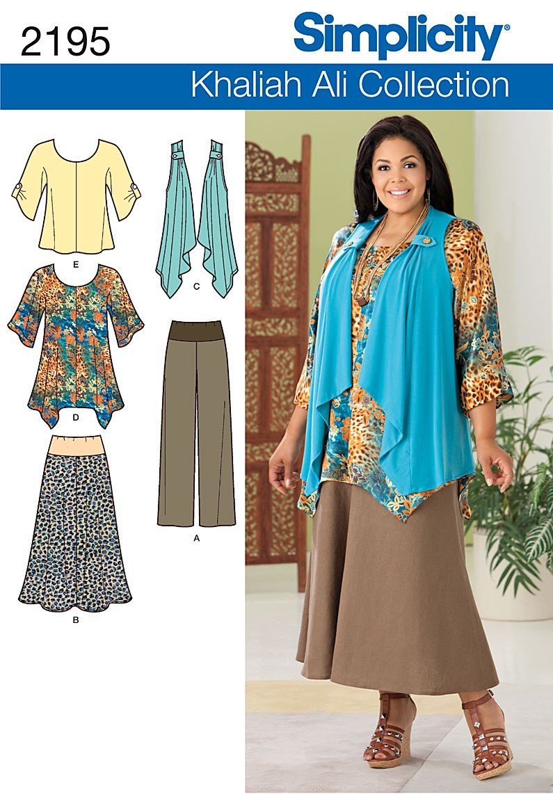 Simplicity Khaliah Ali Collection Pattern 2195 Women's Tunic or Top, Pants, Skirt and Knit Vest Sizes 20W-28W