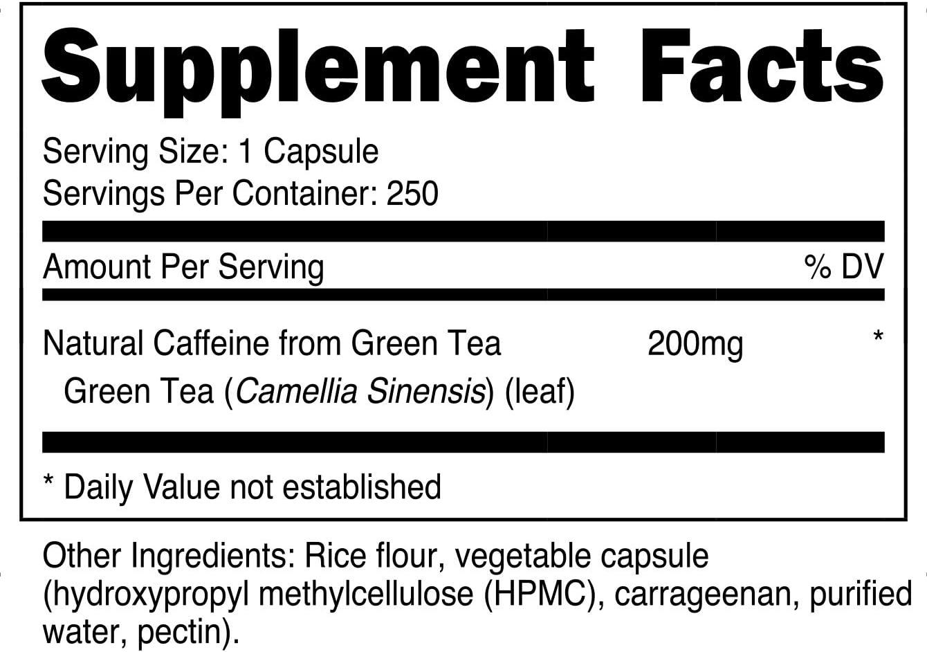 Nutricost Natural Caffeine 200mg, 250 Veggie Capsules – Gluten Free, Non-GMO