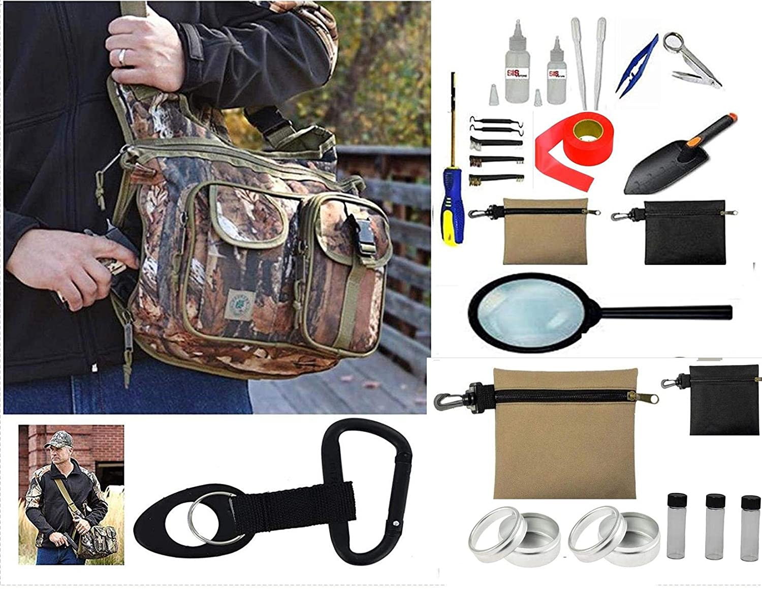 VAS First Response Treasure Hunters Large 17 Hobbyists Sling Pack Metal Detecting Gold Panning 22 Pc Accessory Kit Wildland CAMO Bag