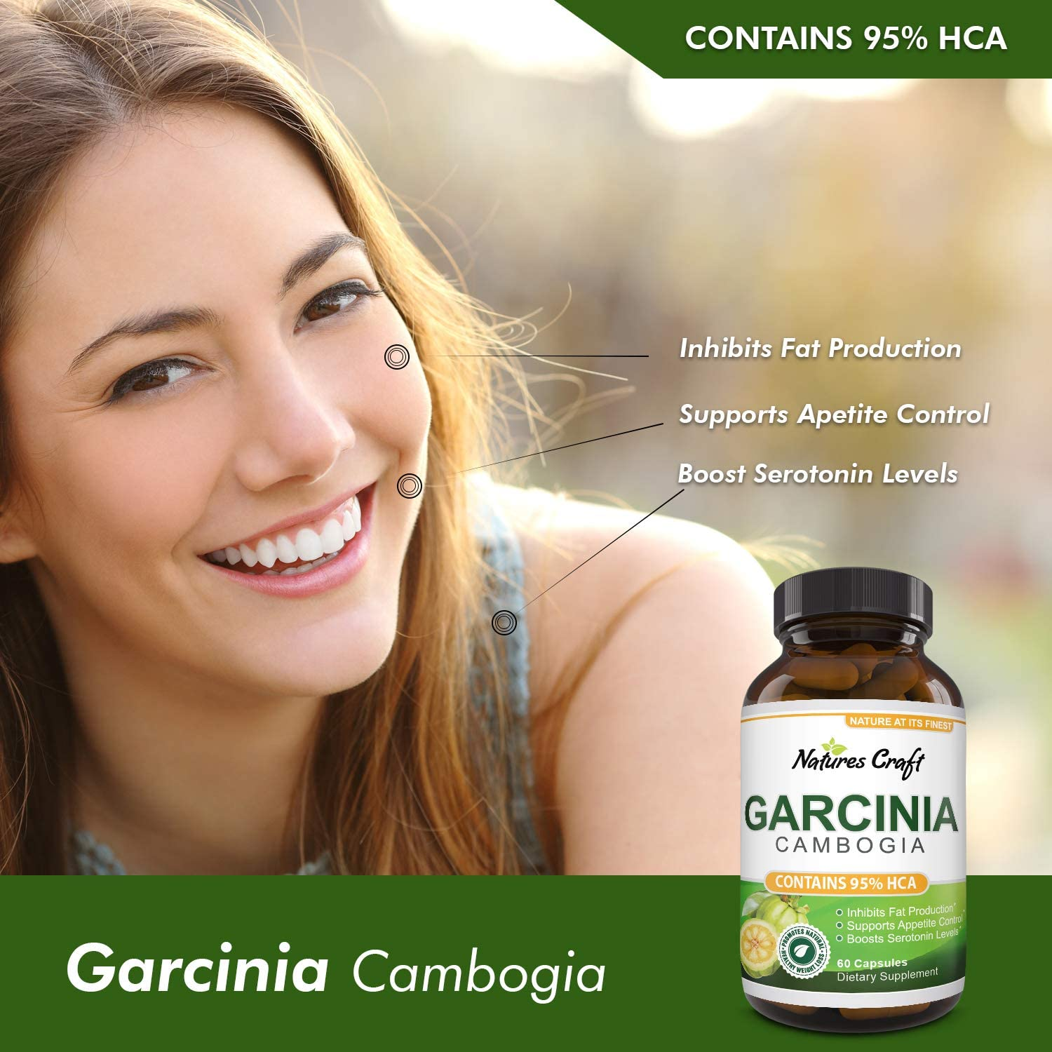 Garcinia Cambogia with 95% HCA Weight Loss Supplement - Best Fast Acting Fat Burner and Natural Carb Blocker Diet Pills - Pure Garcinia Extract Appetite Suppressant for Men & Women