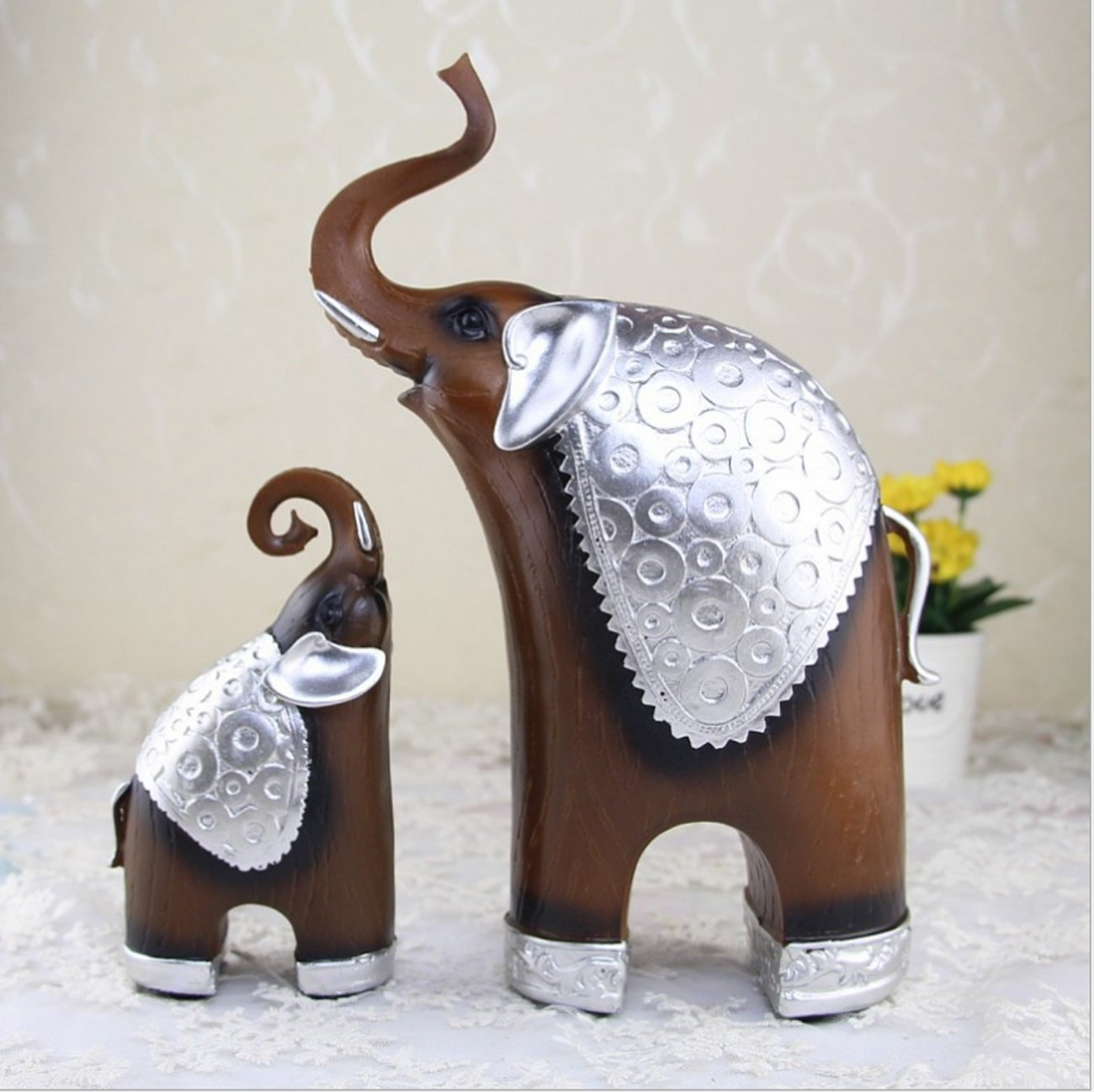 Living Room Home Furnishings Wood grain Elephant Ornaments Creative Resin Decorative Crafts by LHFJ (Image #3)