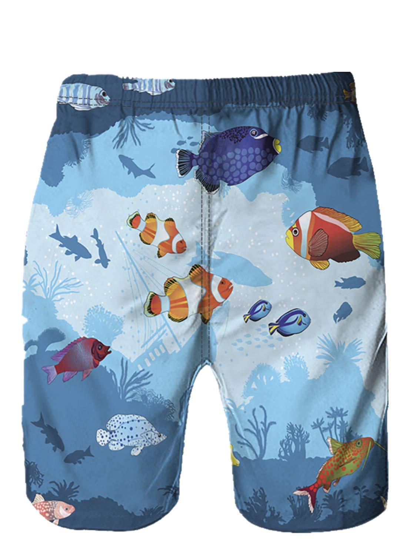 Men Swim Trunk Quick Dry 3D Graffiti Printed Beach Trouser Shorts Swimwear Pants (M, Multi Color)